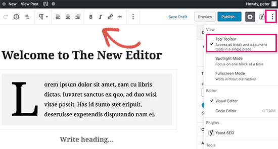 Move the block toolbar to the top of the editor