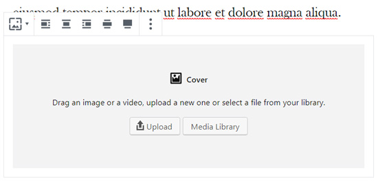 Cover block with options to upload image