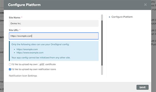 Safari settings for push notification
