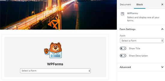 WPForms blokkeren in WordPress-bericht