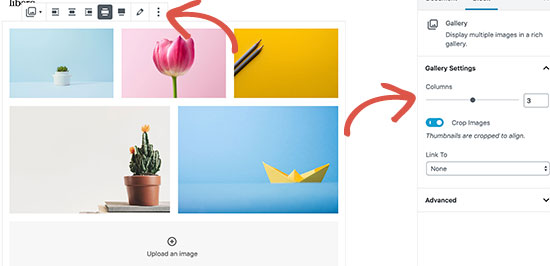 Align gallery images in WordPress post editor