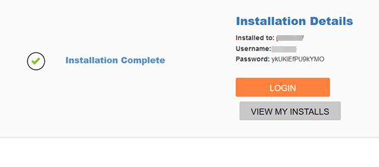WordPress successfully installed using QuickInstall