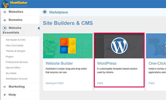 Run WordPress installer on HostGator