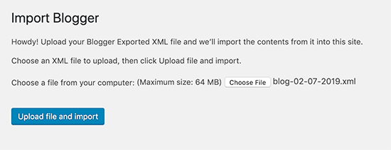 Upload file to import