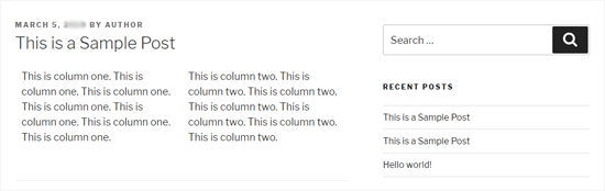 Две колонки WordPress в двадцати семнадцатой теме
