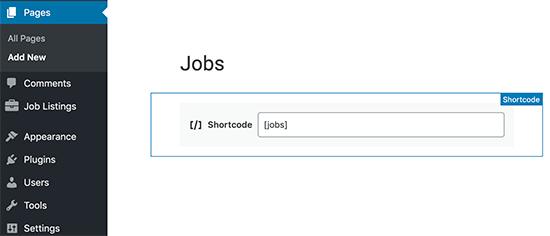 Adding a jobs shortcode
