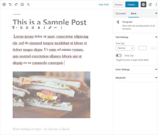 Modo Spotlight habilitado en el editor de WordPress