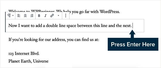 Dubbele regelafstand toevoegen in WordPress