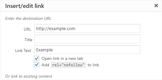 Add Nofollow attribute to a link in WordPress Classic Editor