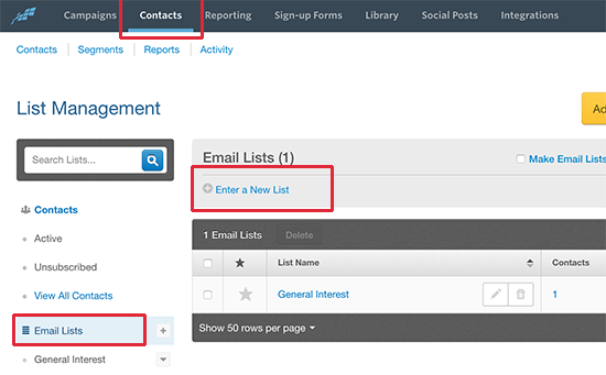 Creating a new email list