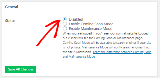 SeedProd disable maintenance mode