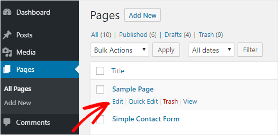 WordPress Page edit option