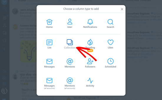 Choose Collection Option in TweetDeck