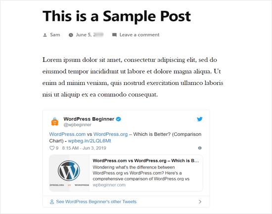 Actual Tweet Embedded in WordPress Blog Post Preview