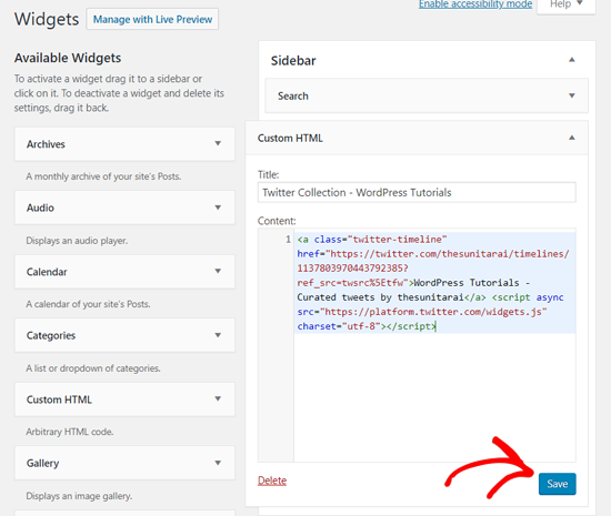 Embed Twitter Collection with Custom HTML Widget