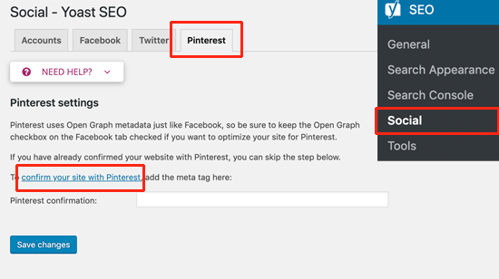 Add Pinterest verification code to your site