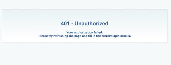 401 Ошибка авторизации