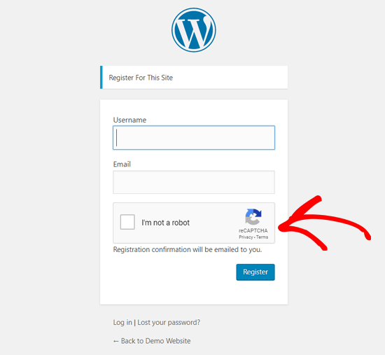 Halaman Pendaftaran WordPress dengan reCAPTCHA