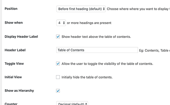 Select where and when to display table of contents
