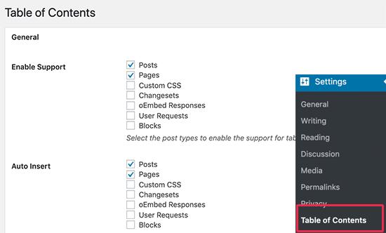 Pengaturan plugin Table of Contents yang mudah