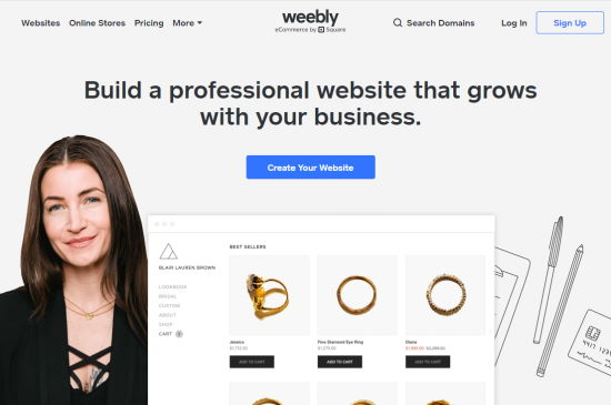 Weebly's eCommere platform website
