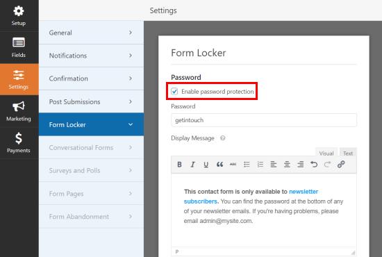 Enabling password protecting using Form Locker