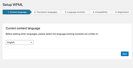 WPML Setup - Choose primary language