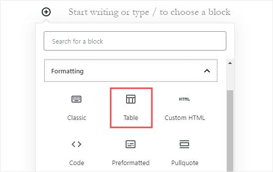 Adding a 'Table' block in the WordPress block editor