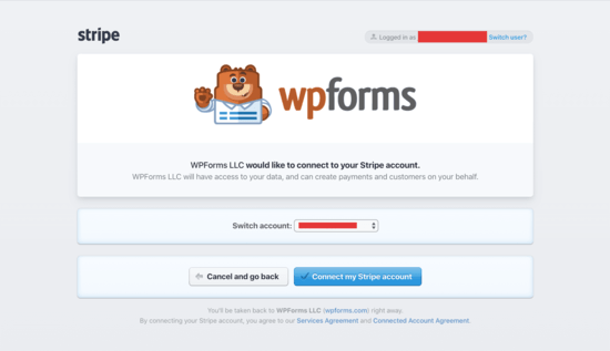 connect your Stripe account to WPForms