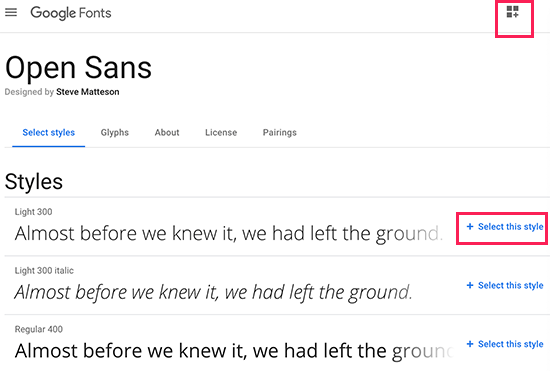 Select font styles you want to use