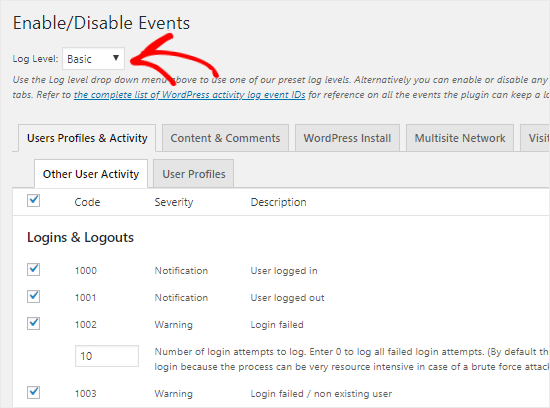 Track events in WP Security Audit Log