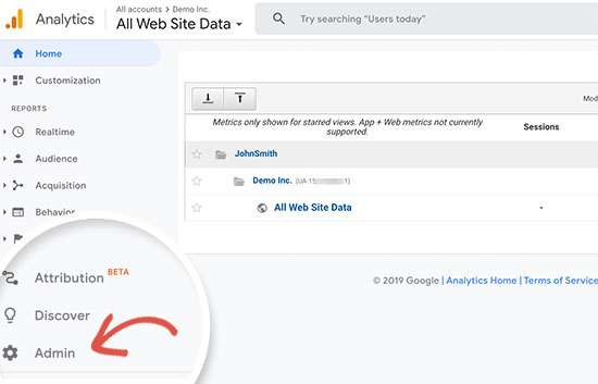 Switch to Google Analytics admin
