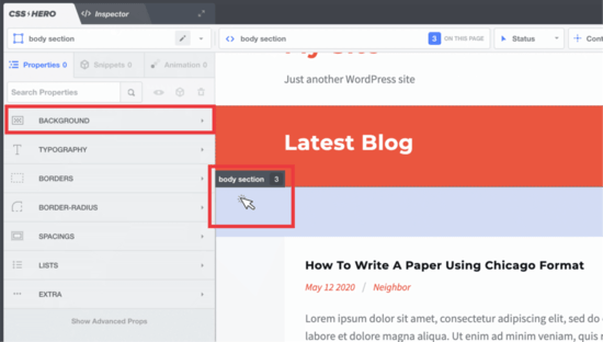 WordPress background image selector