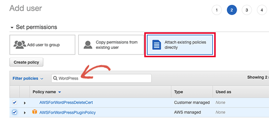 Attach policies to the user account