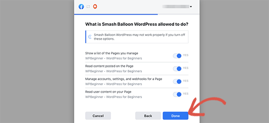 Finish Facebook connection wizard