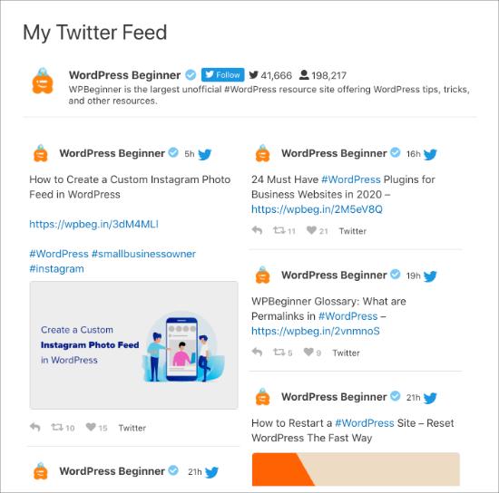 Twitter feed 2 column masonry layout