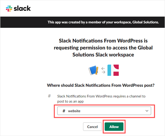 Select a channel and give your webhook permission to post to it