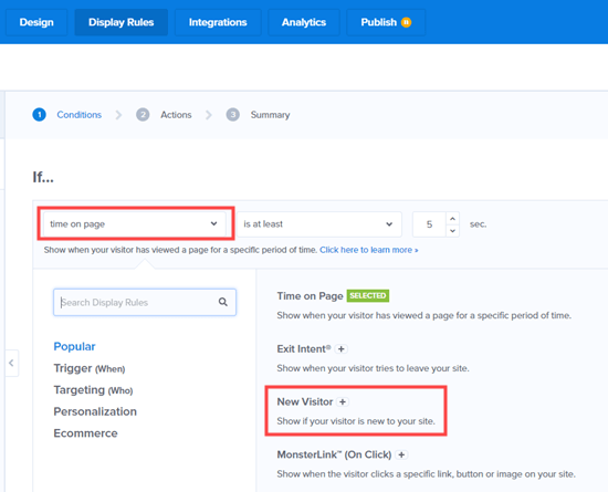 Change the 'time on page' dropdown to target new visitors