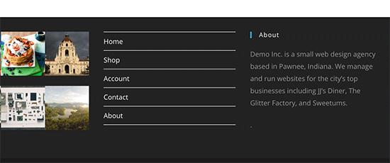 Bagian footer dengan link menu navigasi