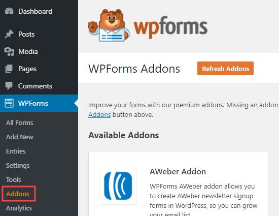 Halaman addons WPForms di admin WordPress Anda