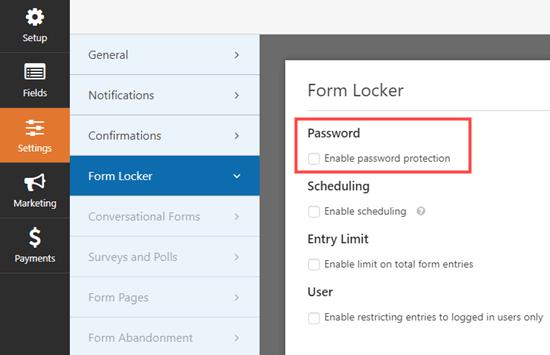 Pergi ke halaman pengaturan Form Locker di WPForms dan centang kotak kata sandi