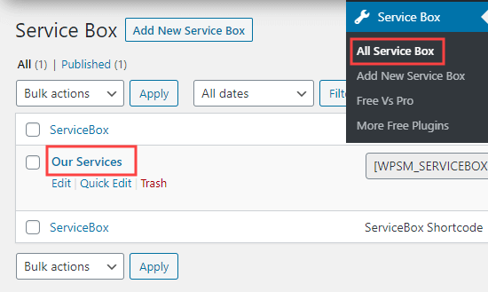 The page showing your service boxes