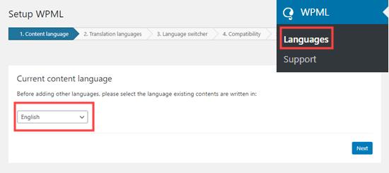 Memilih bahasa konten Anda