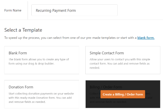 select billing order form template