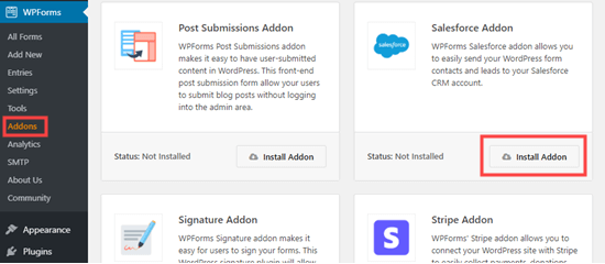 Installing the WPForms Salesforce addon
