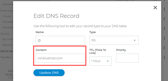 Updating the nameservers for your site using Domain.com