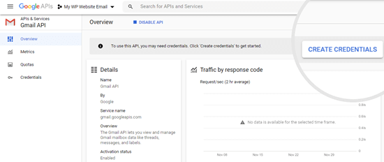 Creating your credentials for your Google API