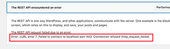 cURL error 7 in WordPress