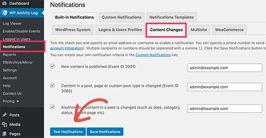 Test notifications in WordPress Activity Log