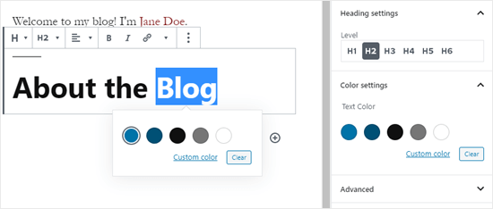 Changing the text color of a heading block in WordPress
